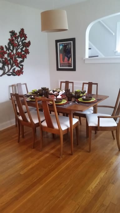 Dining, fiesta style. Fiesta dinnerware colors may vary by season. Pleather seats for easy wipe up. Table has 2 leaves and hot pad/table protectors. Table cloths also available.