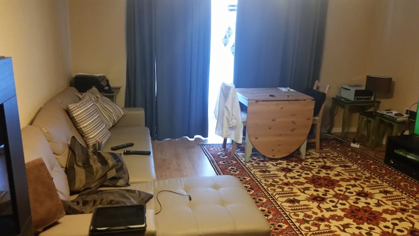 sala de estar com sofá cama, para duas pessoas. equipada com tv, internet, aquecimento ou ventilação.