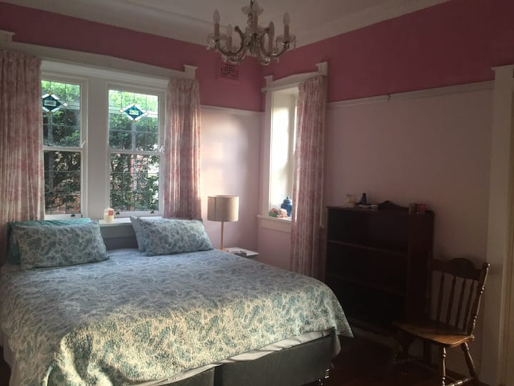 King sized bedroom in charming historic house