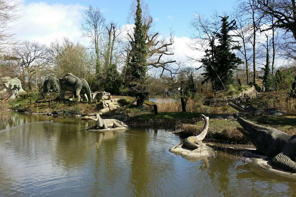 Crystal Palace park with its iconic dinosaurs is behind the flat.