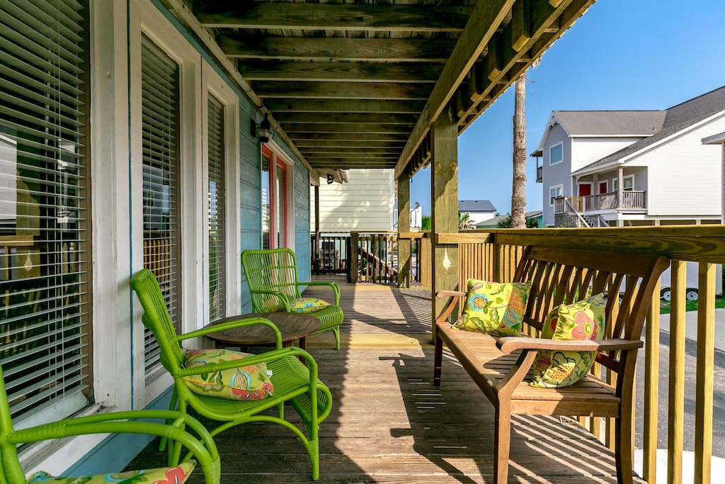 Covered deck is gated - great for pets and kids.