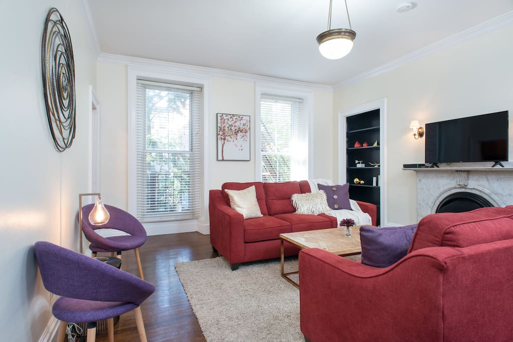 The living room. There are two large sofas and two beautiful accent chairs - comfy and spacious enough for 6 guests!
