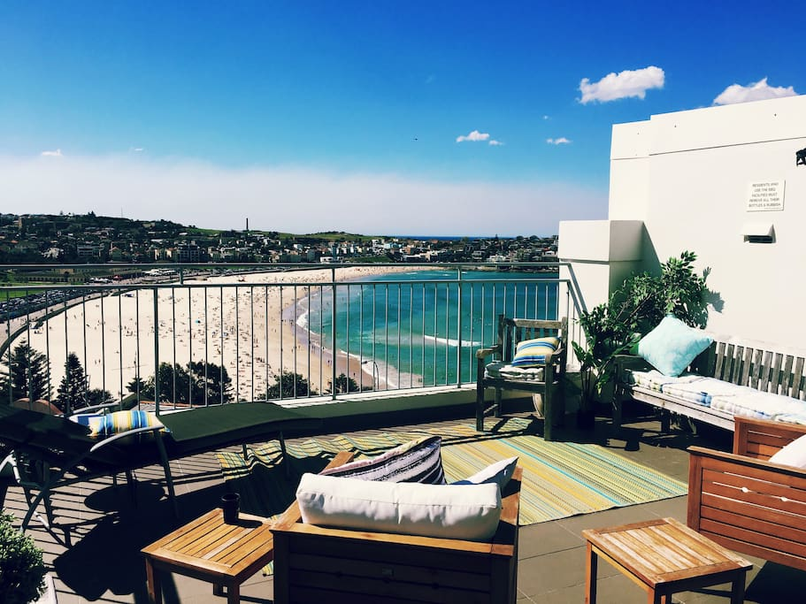 Enjoy the panoramic views of Bondi from the shared rooftop