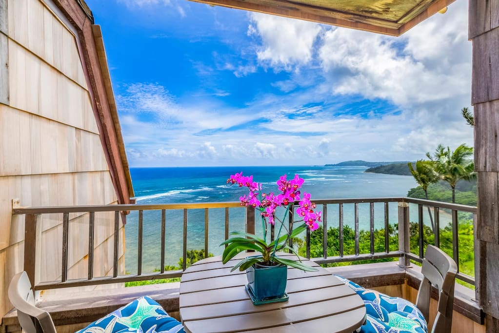 Private Lanai with patio set to take in the sights.