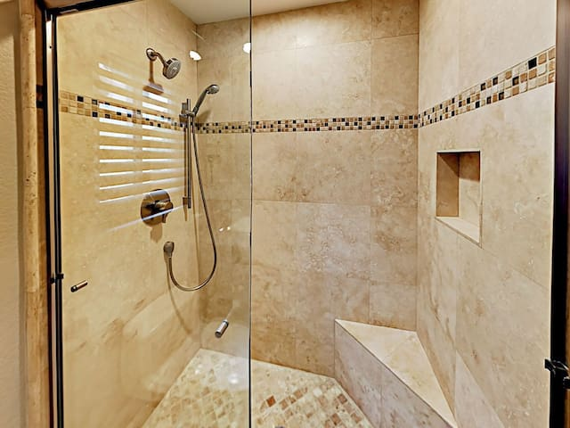 Master shower room with plenty of fresh towels & high-quality supplies (shampoo, bar soap, etc)