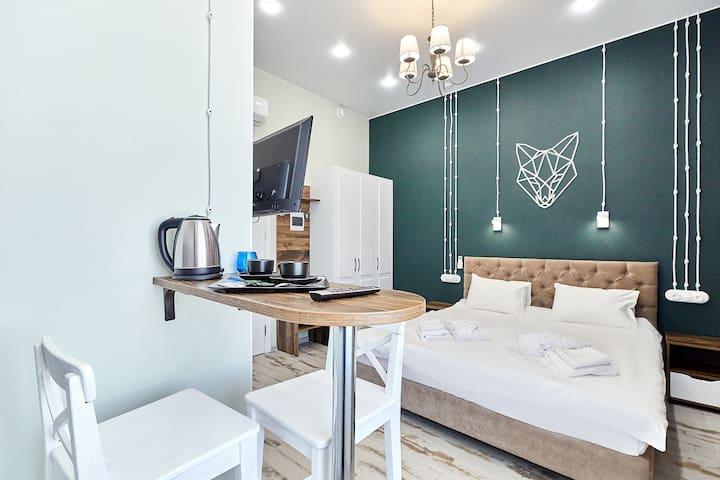 """Стандартные апартаменты с 1 большой кроватью в апарт-отеле """"Гранд Апарт"""""""
