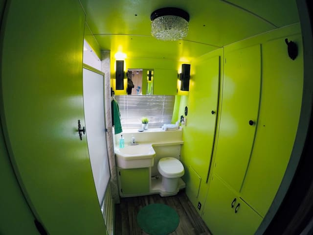 Retro style bathroom with full stand up shower