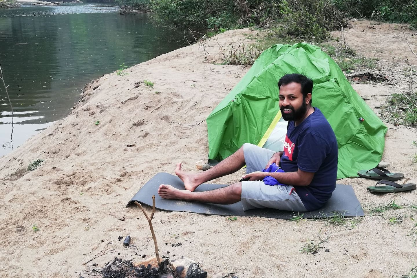 Bhavani river: Pitch  a tent by the river bank.
