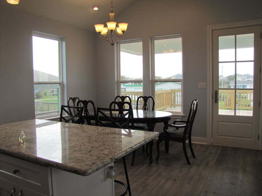 Dining area by windows