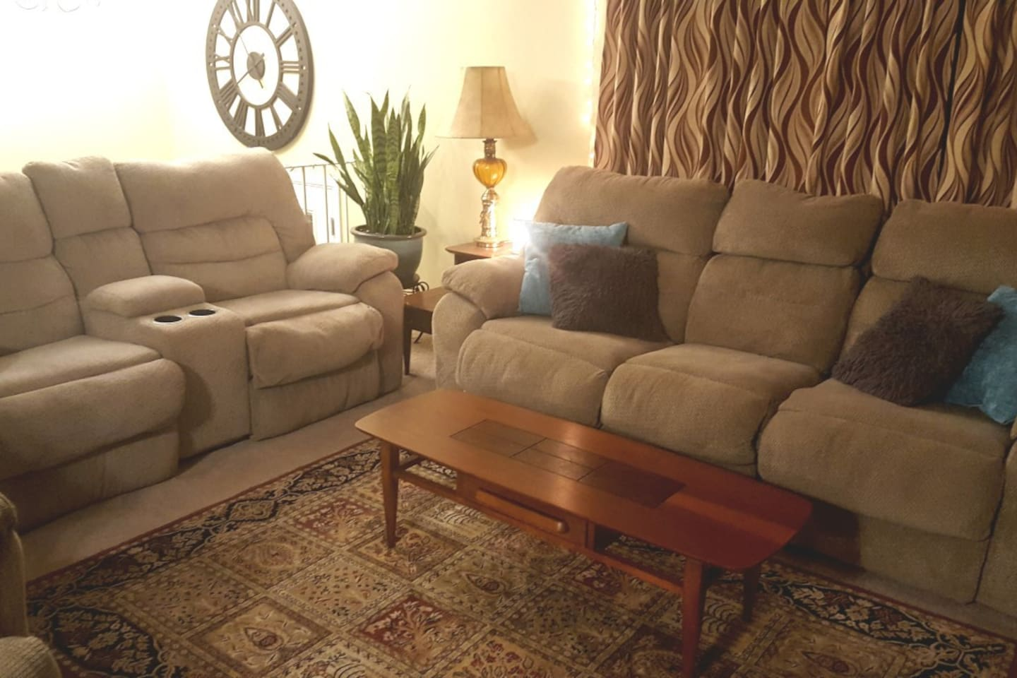 Cozy, comfortable living space. Enjoy the big game in the comfort of your warm inviting atmosphere.