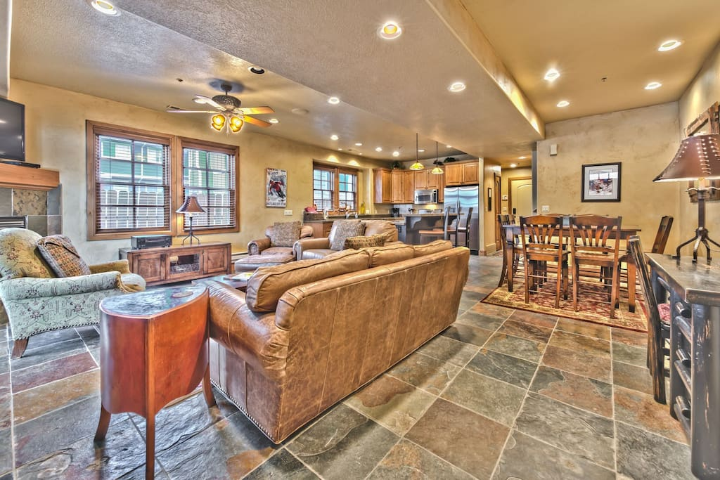 Main Level Great Room with Living Area, Dining Area and Kitchen