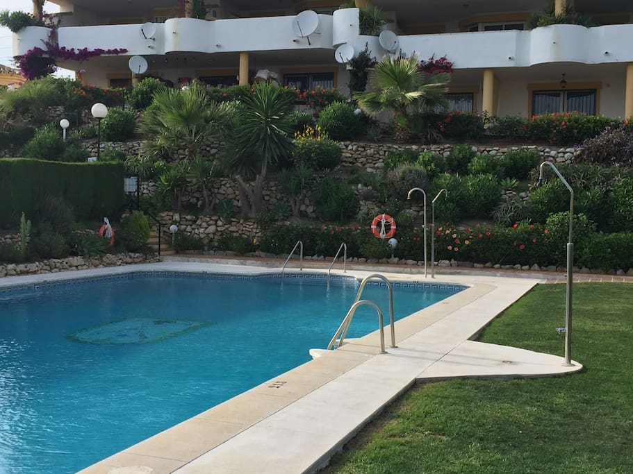 Large community pool, 20m x 10m, directly in front of the apartment