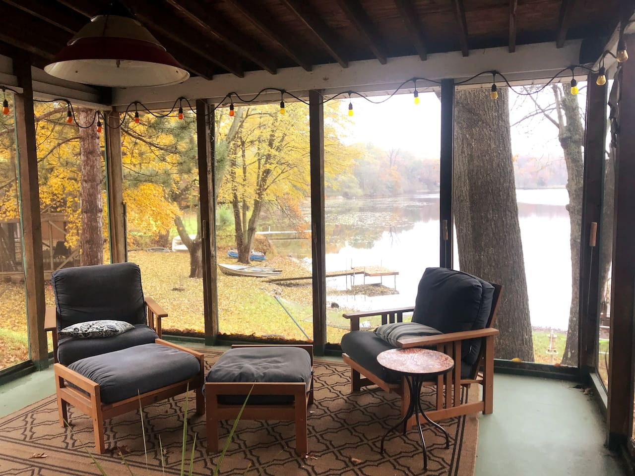 Autumn view from screened in porch