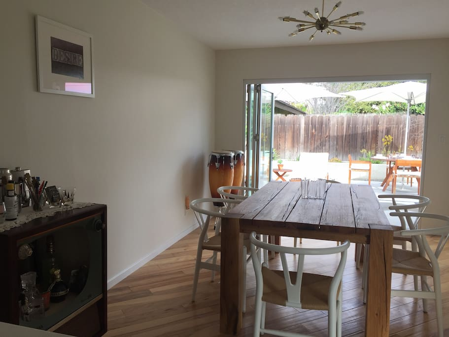Dining area leads you to outdoor patio.