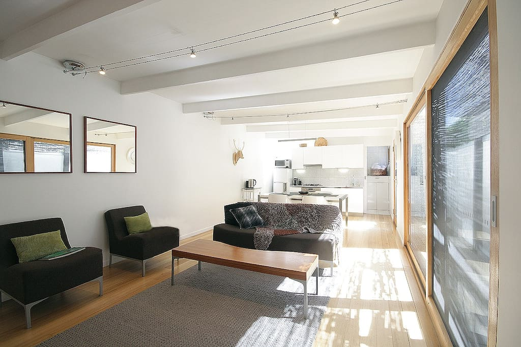 The living area is bathed in light, ground floor and private.