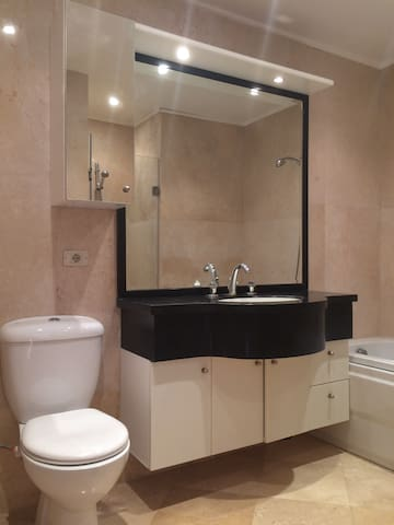 Ensuite bathroom with shower, toilet, basin and bathtub
