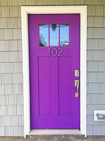 Purple door with keyless entry.