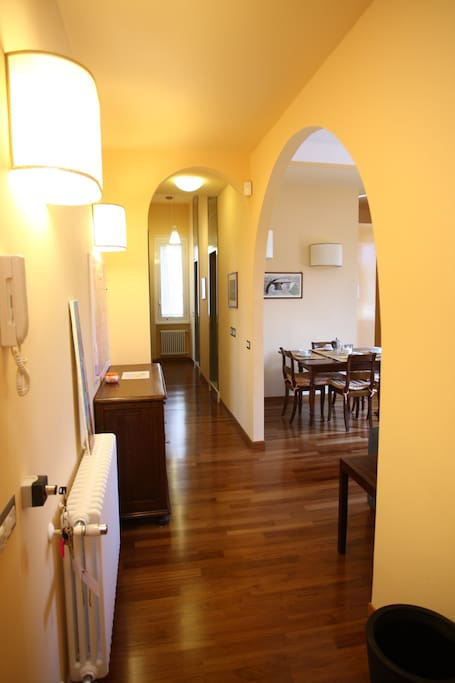 3) details of the corridor that leads to two large bedrooms and two comfortable bathrooms with shower.