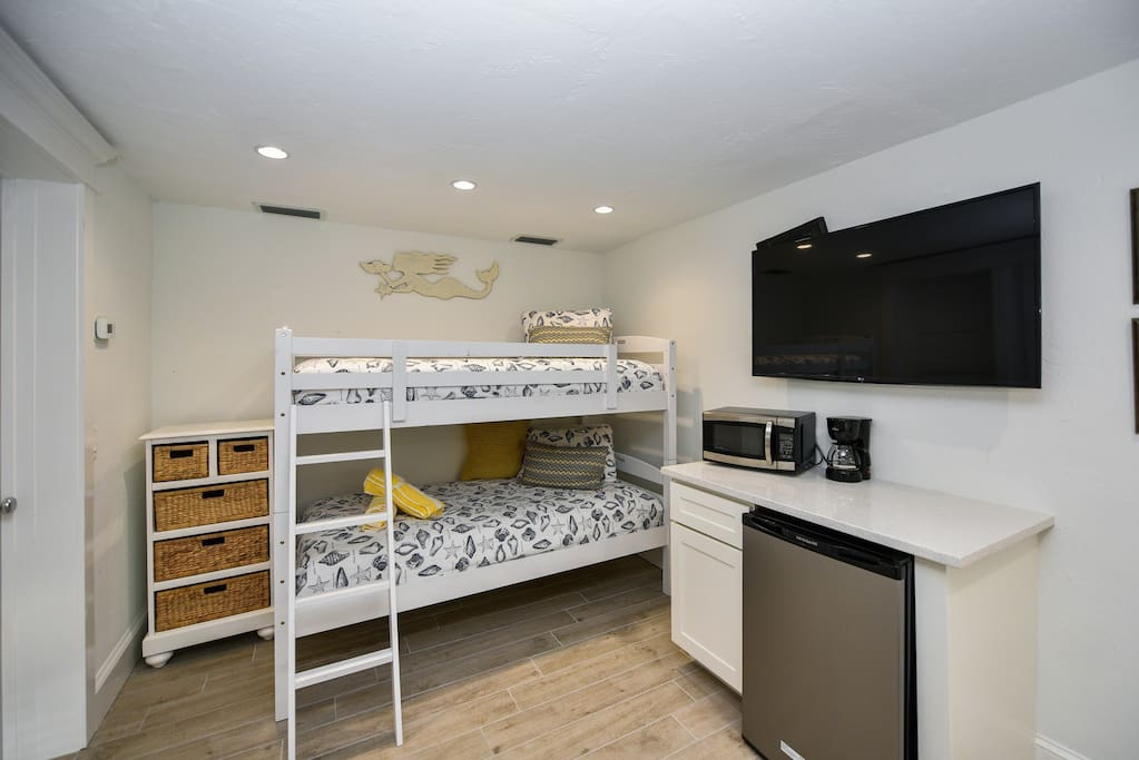 Bunk Beds with Mini Fridge, Microwave, TV, Coffee Maker