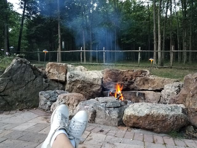 Relax on the patio and enjoy the fire pit.