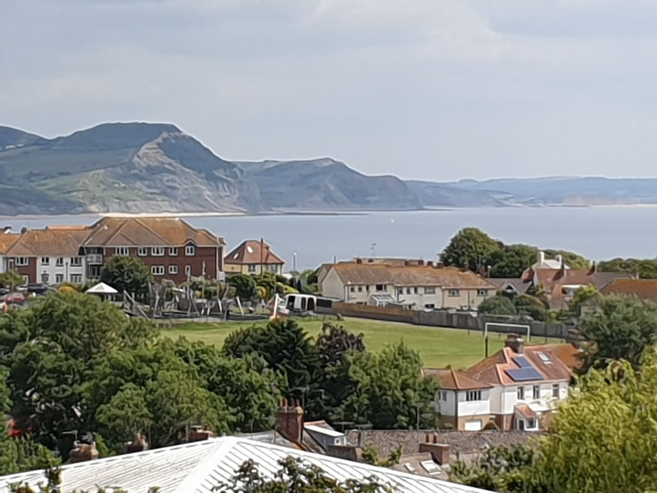 Panoramic view over Lyme Bay from lounge