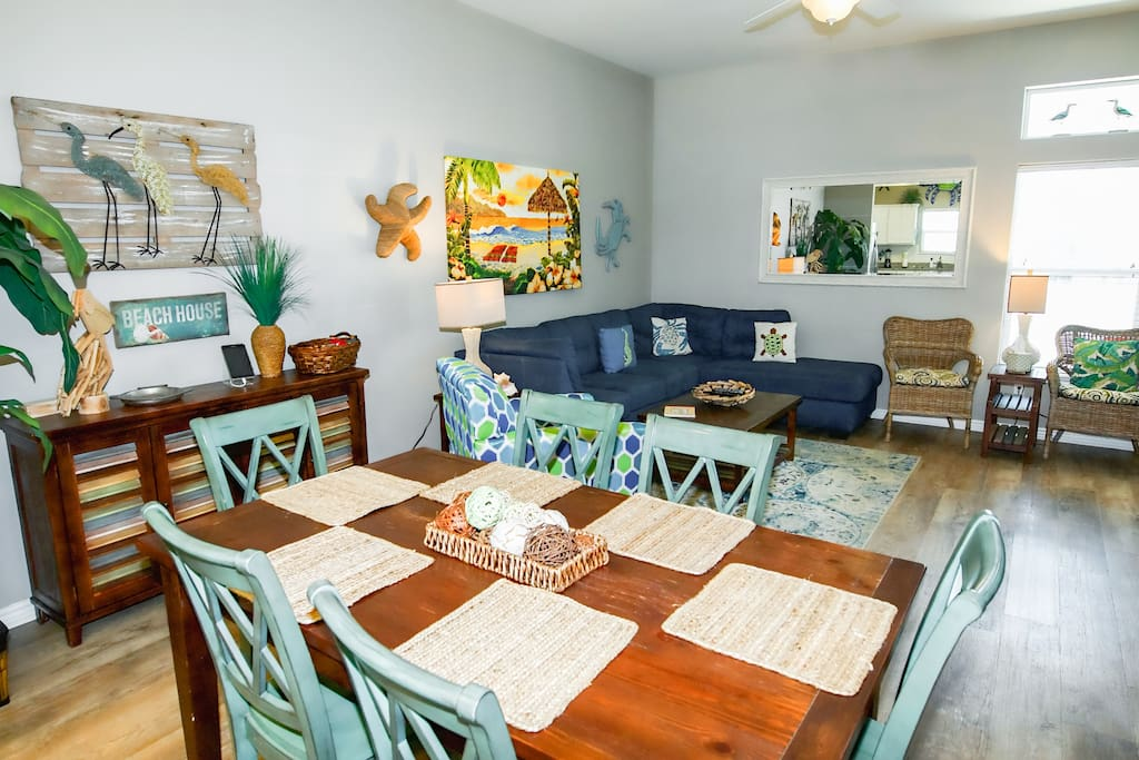 The open-concept living and dining areas make conversation easy.