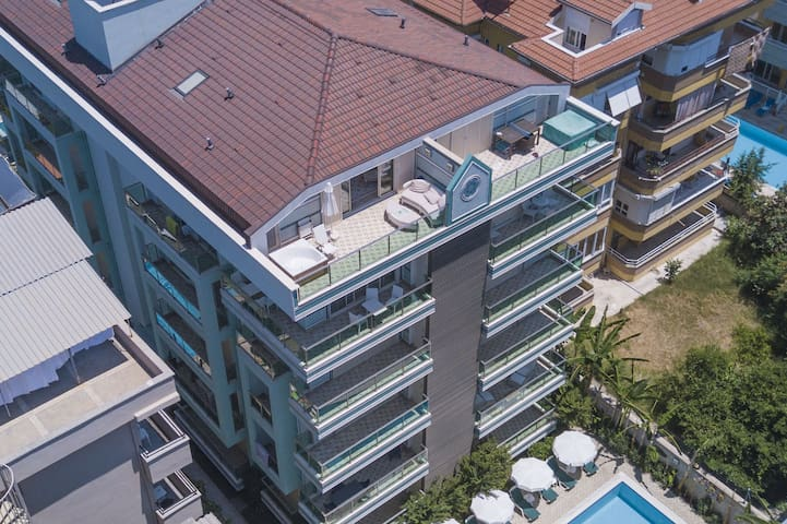 Two floors of balcony and terrace.