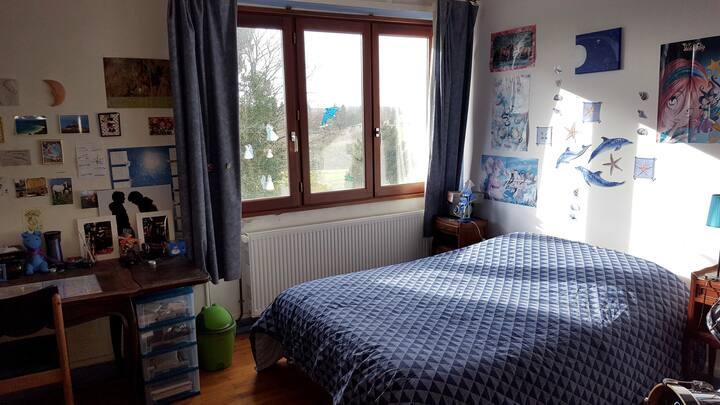 Chambre bleue chez l'habitant, maison de campagne