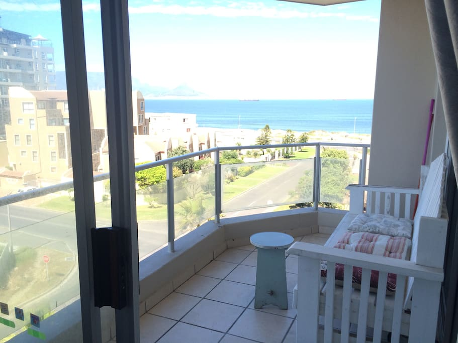 The balcony looking out at the ocean