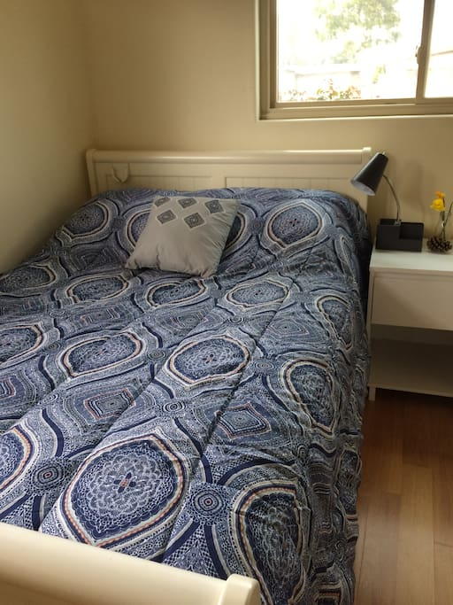 Double bed for couples or single traveler. Air mattress and bedding available in room and can be inflated in 3 minutes.