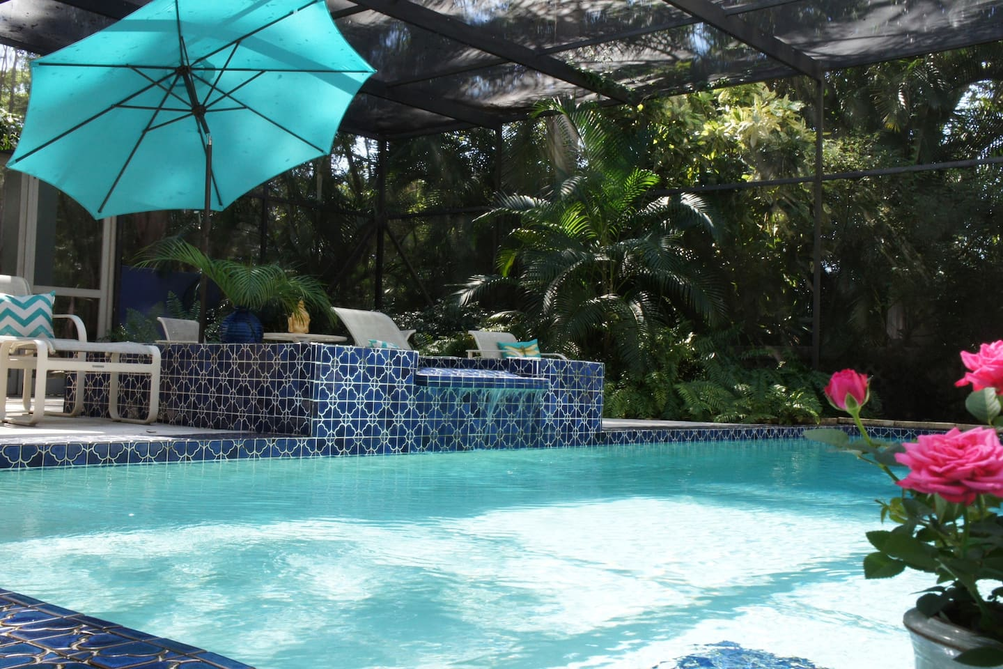Pool and lounge area, relax to the tranquil sound of the waterfall from the plunge pool