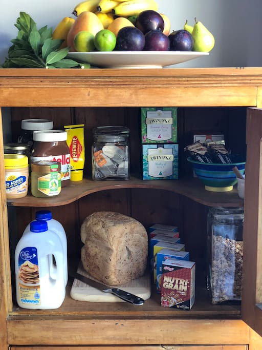 Your breakfast awaits - the 'AirBnB' cupboard is stocked with cereal, home made bread, tea, pancake mix, Nutella, Vegemite and a variety of other goodies to put you on the right path for the day. Butter & milk in the fridge.