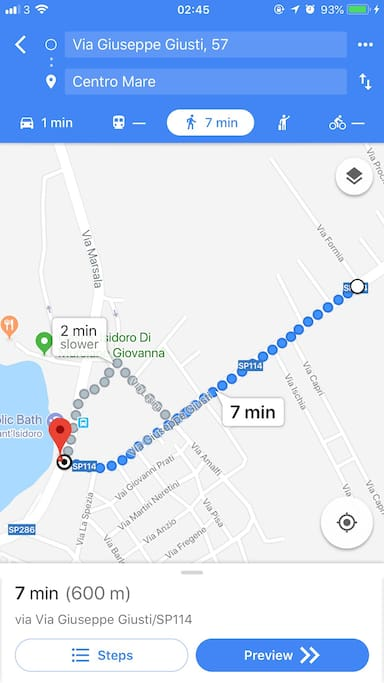 Route flat to beach - 7 minute walk