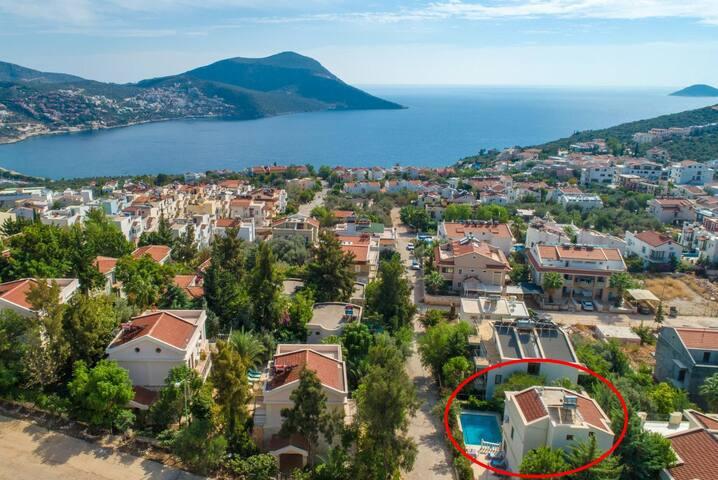 Aerial view showing location of Villa Antiphellos