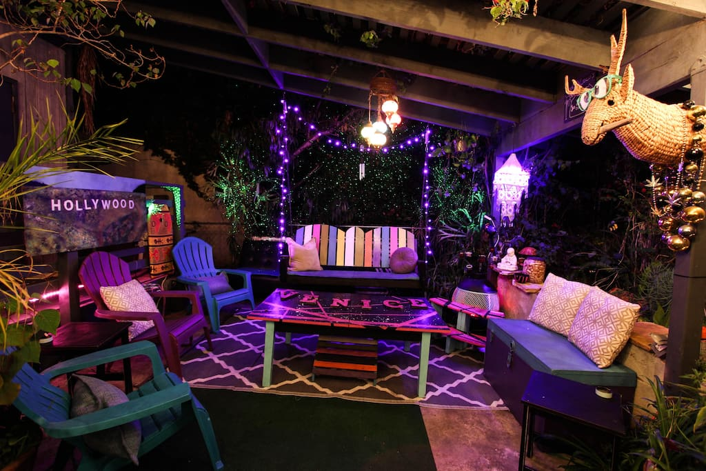 Hang outside in our magical gardens with other guests from around the world!