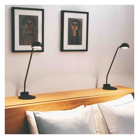 Headboard with two reading lamps