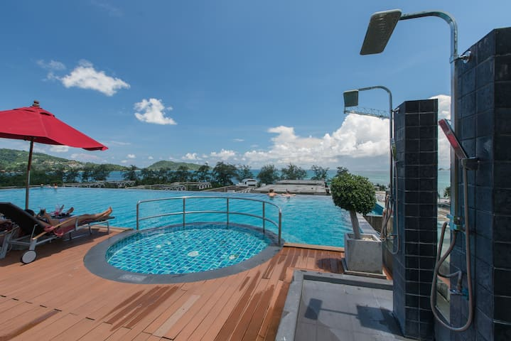 Rooftop and swimming pool area