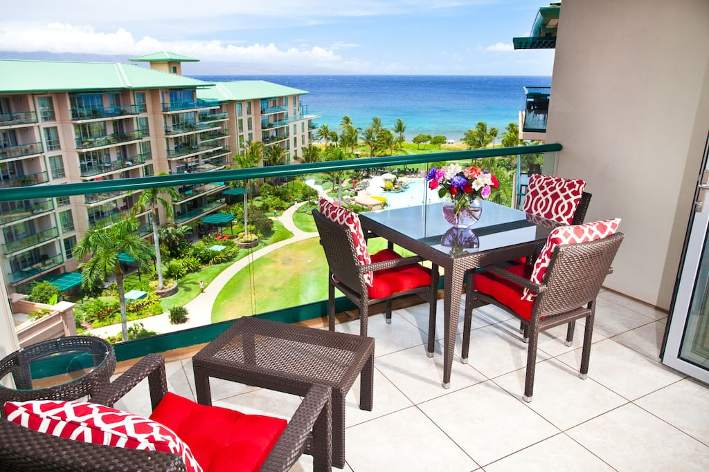 Full ocean view from the lanai, king bed, and interior of unit.
