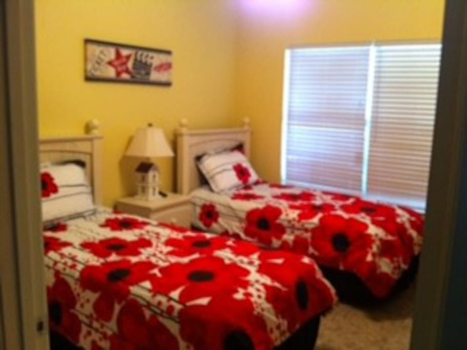 2 twin bedroom with TV and own closet
