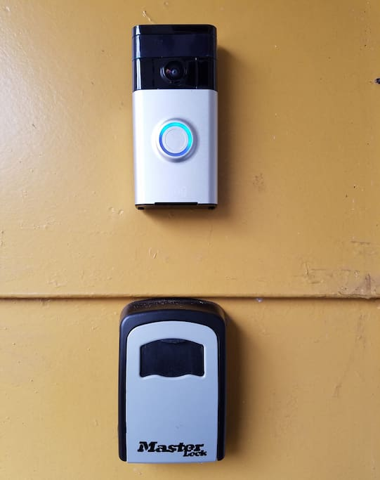 """A convenient lock box is available for self/late check-in. And the """"Ring"""" doorbell helps us communicate if necessary, or to watch door entry during your stay for your safety."""