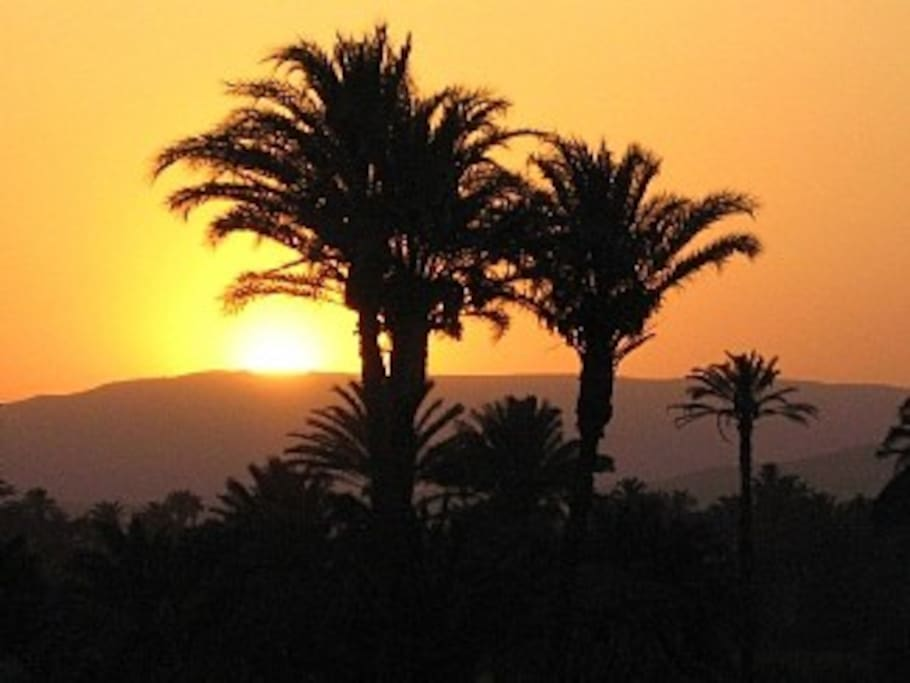 Sunset over the Theban hills (view from the roof terrace, facing away from the Nile).