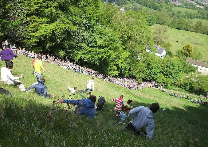 The popular cheese rolling happens in May at Brockworth- just up the road from Stroud