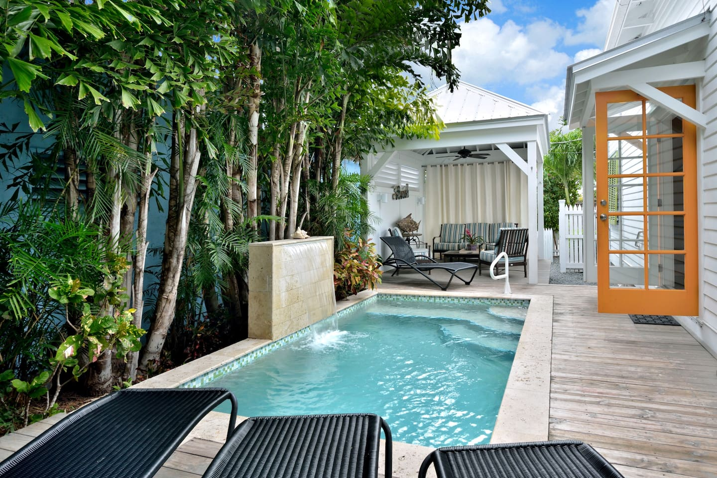 Lovely private pool with waterfall and outdoor cabana for relaxing