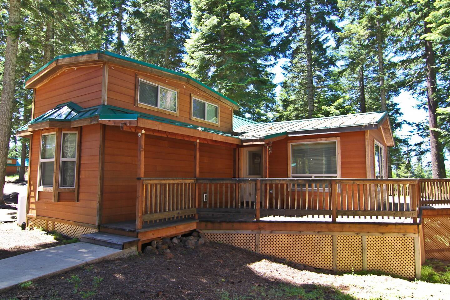 Cabin comes with a great spacious deck.