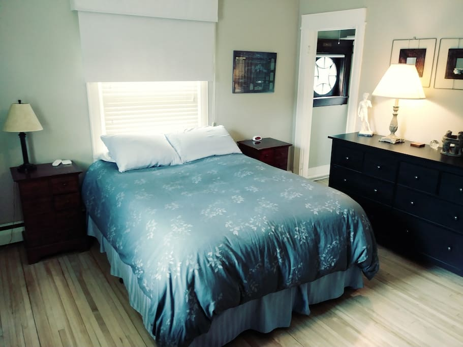 Sleep number bed-feels like you are sleeping on a cloud.  Ample closet and dresser space.  Room darkening blinds.