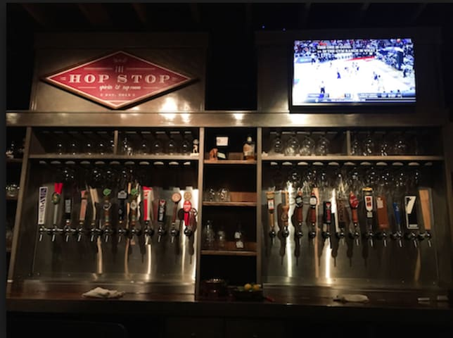 Hop Stop is a favorite pub around the corner from the house.
