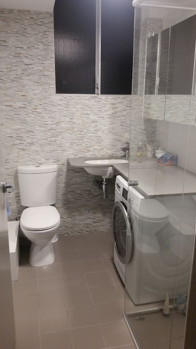 Recently renovated bathroom with washer/dryer.