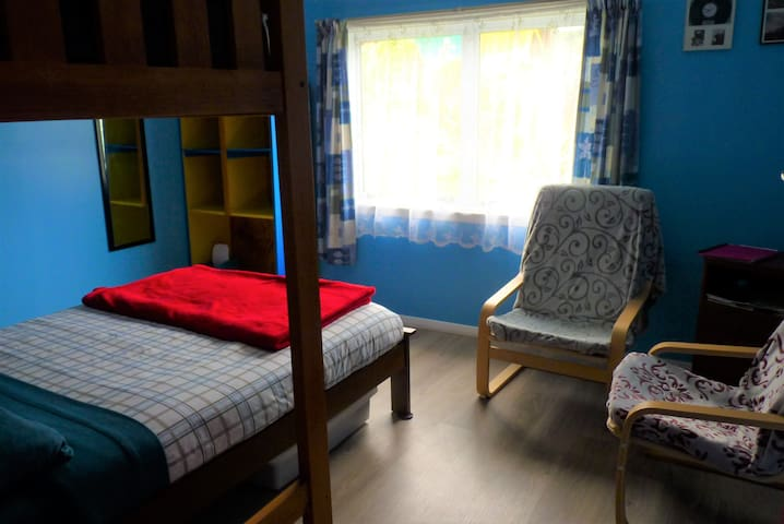 Twin or double room. Double bed with loft bed