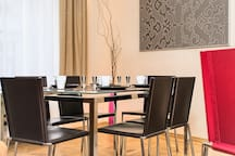 Dining area with seating for 6 people