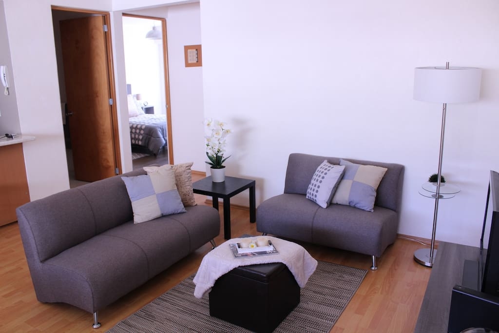 Comfortable living room, with flat screen and internet, so you can hookup your laptop!